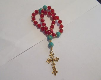 Red Devotional Aid, Prayer Beads, Beaded Rosary, Christian Gift, First Communion Gift, Baptism Gift, Protestant Beads, Religious Gift