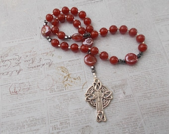 Red Agate Devotional Aid, Prayer Beads, Beaded Rosary, Christian Gift, First Communion Gift, Baptism Gift, Protestant Beads, Religious Gift