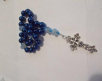 Dark Blue Devotional Aid, Prayer Beads, Beaded Rosary, Christian Gift, First Communion Gift, Baptism Gift, Protestant Beads, Religious Gift