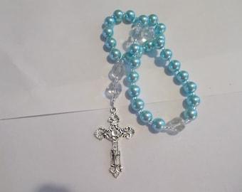 Aqua Devotional Aid, Prayer Beads, Beaded Rosary, Christian Gift, First Communion Gift, Baptism Gift, Protestant Beads, Religious Gift