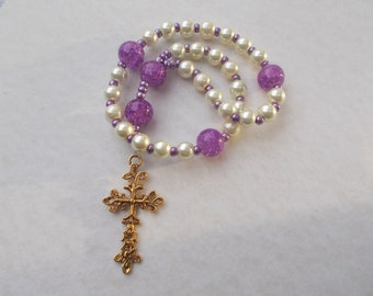 Off White Purple Devotional Aid, Anglican Rosary Prayer Beads, Protestant Beaded Rosary,Christian Gift, First Communion Gift, Baptism Gift