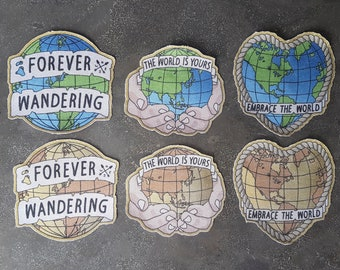NEW! Embrace the World / Forever Wandering / The World Is Yours (Blue-Brown) 6-Pack - 100% 246 Gr/M2 Cotton Satin (Sew-On) -PREMIUM QUALITY!