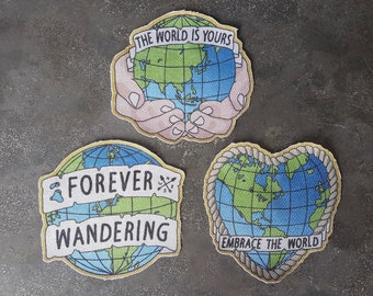 NEW! Embrace the World / Forever Wandering / The World Is Yours 3-pack (Blue) - 100% 246 Gr/M2 Cotton (Sew-On) Patches!-PREMIUM QUALITY!
