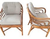 Mid Century Brown Jordan Sculpted Bent Rattan Dining Armchairs- A Pair