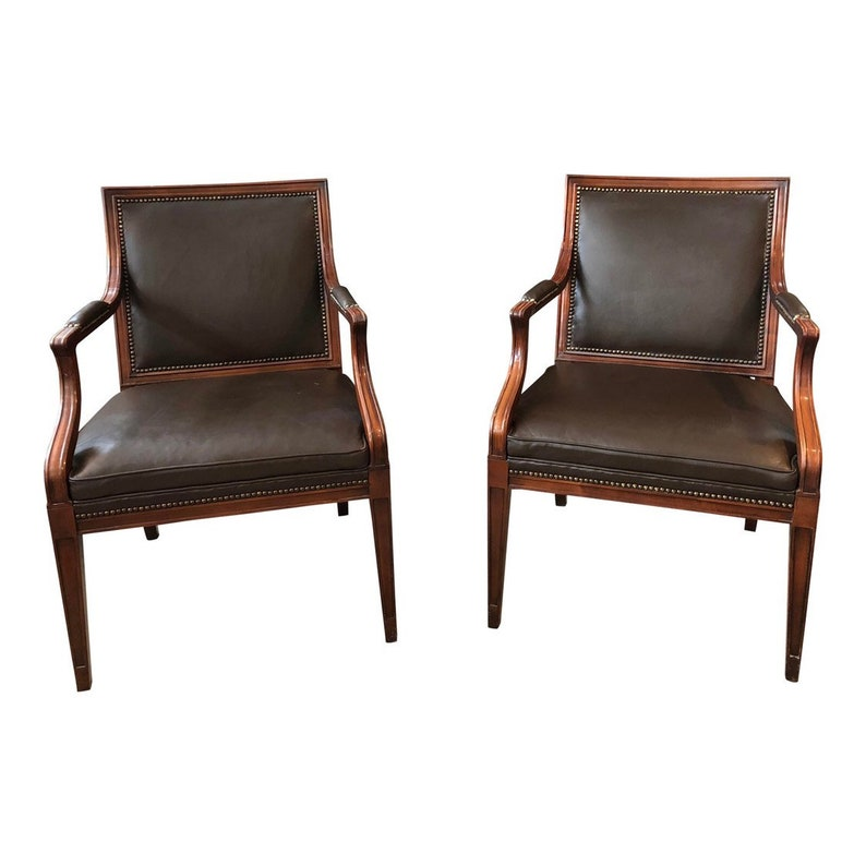 Pair Of Vintage Leather Armchairs By Baker Furniture Etsy