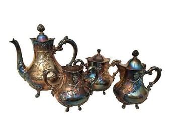Vintage Silver Plate Tea Set By FB Rogers