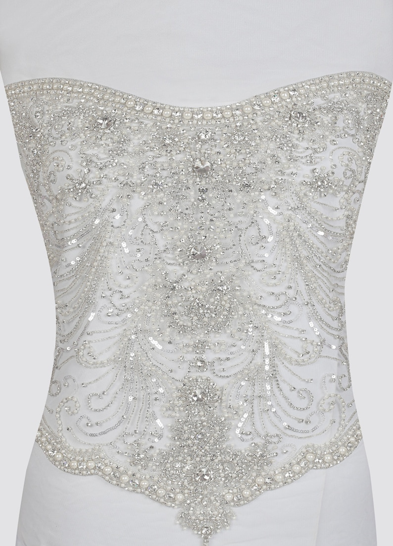 8e24ee3e Hand beaded corset bodice Crystal and sequin bridal appliqué | Etsy