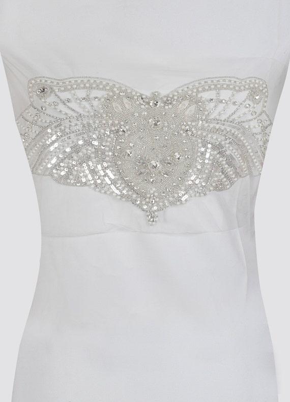 Sequin bridal gown bodice Flapper costume appliqué Art   Etsy