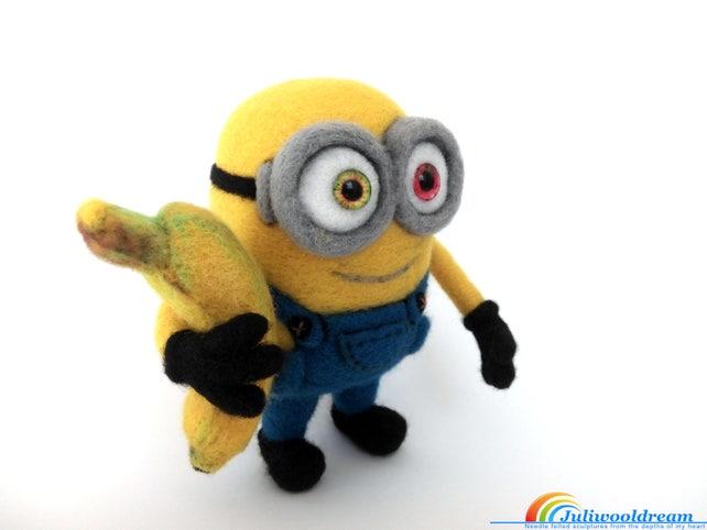 Nadel gefilzt Minion Bob mit einer Banane Nadelfilz Minion | Etsy
