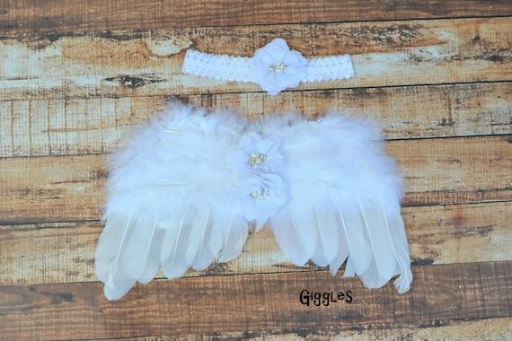 bandeau nouveau n enfant plume blanche fleur ailes ensemble etsy. Black Bedroom Furniture Sets. Home Design Ideas