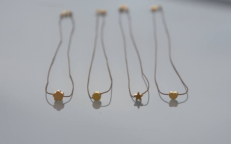 Gold plated and gold filled 14K ZOUX055 star clover round puck Mini pendant heart Minimalist neck collar in brown silk thread