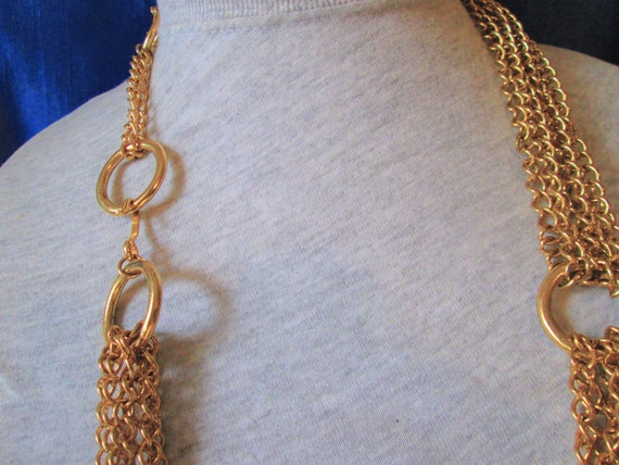 Vintage Multi Chains Linked Necklace- Gold Tone C… - image 8