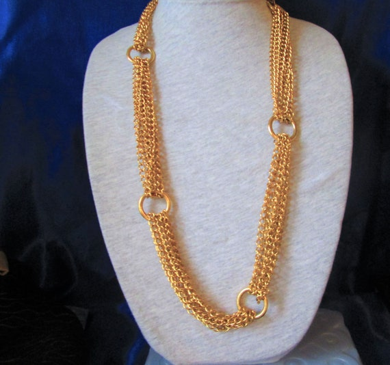 Vintage Multi Chains Linked Necklace- Gold Tone C… - image 3