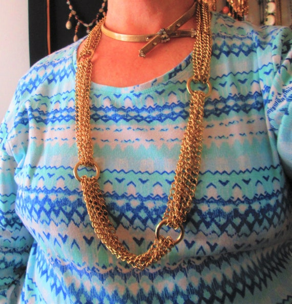 Vintage Multi Chains Linked Necklace- Gold Tone C… - image 2