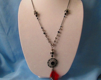 "Handmade Black Chain Necklace - Pendant  - Earrings - Both have red feathers- Black & silver crystals - Length 37""-"