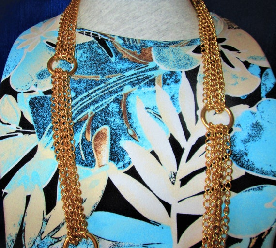 Vintage Multi Chains Linked Necklace- Gold Tone C… - image 6