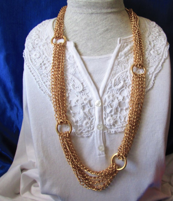 Vintage Multi Chains Linked Necklace- Gold Tone C… - image 1