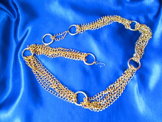 Vintage Multi Chains Linked Necklace- Gold Tone C… - image 9