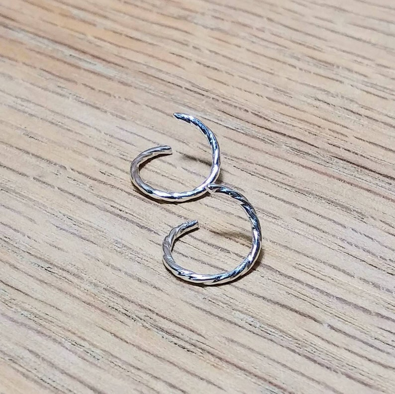 10.25mm.40 in 1 Pair Shiny Fine Silver Endless Twisted Ear Hoops 18 Gauge