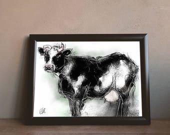Cow print // cow gifts // cow kitchen decor // country kitchen decor // cow painting // cow art // farm animal decor // farm nursery