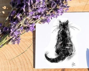 Cat card // cat lovers card // black cat card // cat lover gift // animal lover gift // cat birthday card // cat greetings card