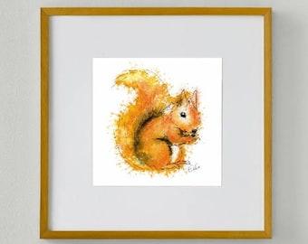 Framed squirrel print // squirrel painting // squirrel art // red squirrel print // British wildlife art // wildlife decor // woodland decor