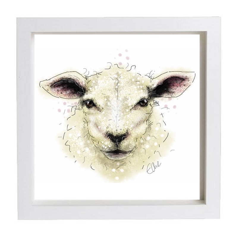 Framed Sheep Print Home Decor Wall Art Gifts Country