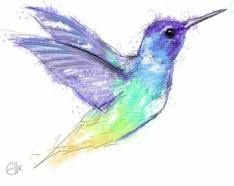 Mounted hummingbird print // hummingbird print // hummingbird gifts // hummingbird art // hummingbird decor // bird art print // bird print