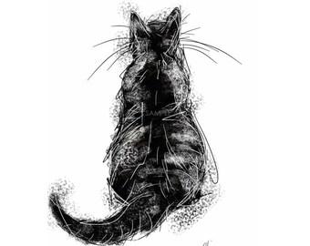 Black cat painting // cat print // cat art print // black cat print // cat silhouette art // black cat lovers // gifts for cat lovers