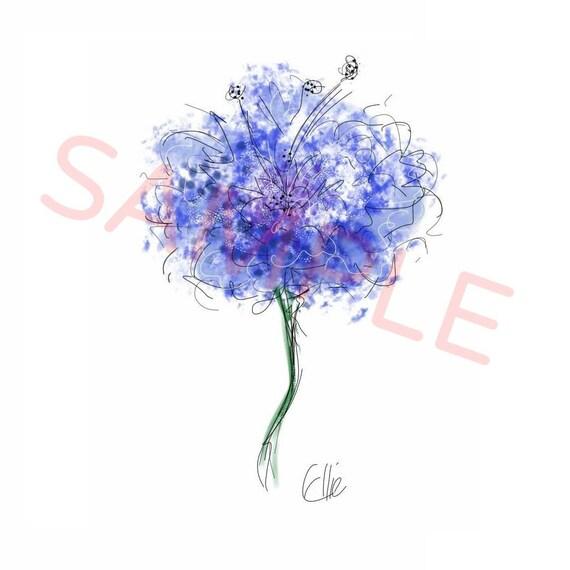 Bleu Peinture De Fleurs Bleuet Print Imprime Fleurs Etsy
