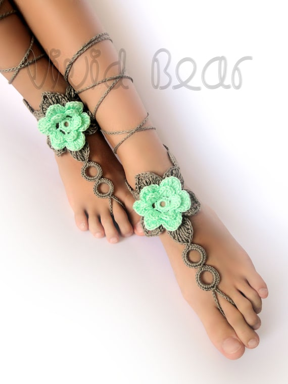 Beach Wedding Shoes Beachwear Crochet Foot Jewelry Ivory and Peach or 28 colors Flower Barefoot Sandals Set of 2 pcs. Boho Anklet