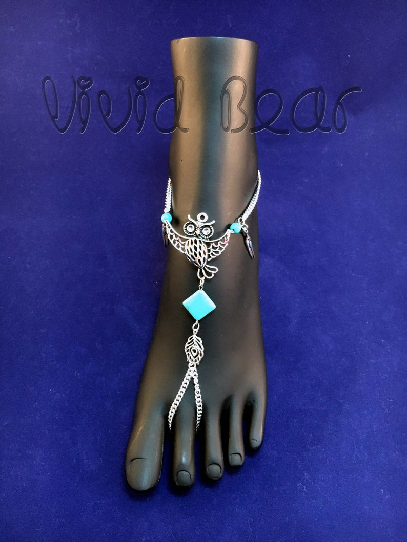 Silver Foot Jewelry Turquoise beads Rhinestone Ready to ship Owl Bird Barefoot Sandals SALE 2 pcs. Boho Tribal Chain Anklets