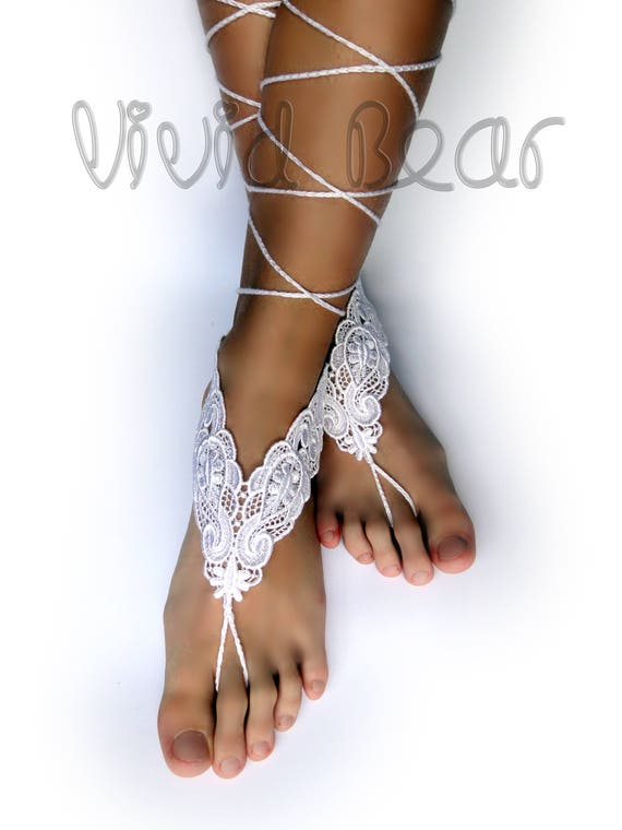 ff053b539b22 Bridal Lace Barefoot Sandals. White Flower Foot Jewelry.