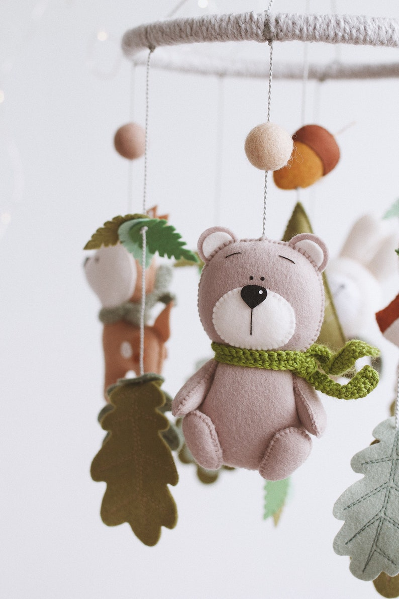 Forest baby mobile  Woodland mobile  Forest animals mobile  Animal baby mobile  Hanging mobile  Cot mobile  felt baby mobile