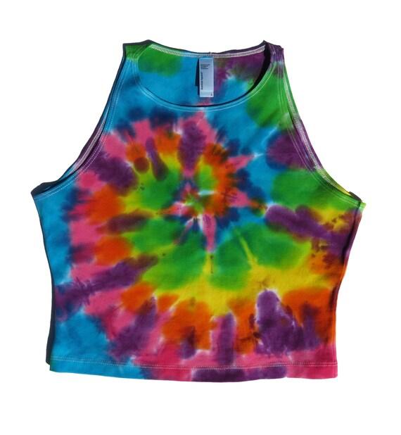 c6edf8ec8e5a3 Pastel Rainbow Tie Dye Crop Top    Tank Top    Festival Top