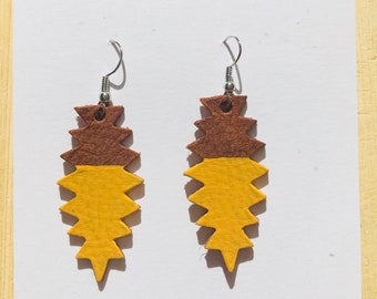 Brown and mustard yellow leather drop earrings