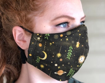 Night Sky Face Mask with wire nose, filter pocket and adjustable ear loops. Free shipping. Unisex. Moon and Stars Mask. Space Face Mask