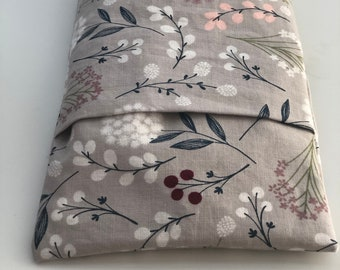 Gray Floral Microwave Heating Pad with Washable Cover. Rice and Flaxseed heating pack. Floral Cotton Removable Cover. Choose your size