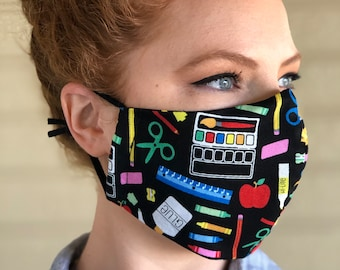 Teacher Face Mask. Washable Back to School Cotton Mask. Free Shipping Wire Nose, Adjustable ear loops, filter pocket. School Supplies mask