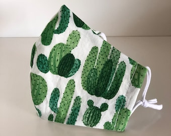 Cactus Face Mask with filter pocket, wire nose and adjustable ear loops. Reusable. Free shipping. Unisex.