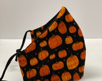 Pumpkin Face Mask. Washable Cotton Face Mask. Wire nose, filter pocket, and soft adjustable ear loops. Free Shipping. Cute Fall face mask