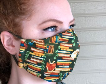 Book Face Mask. Wire Nose, Adjustable ear loops with filter pocket. Cute Teacher Reusable Face Mask. Avid Reader Mask. Librarian Face Mask