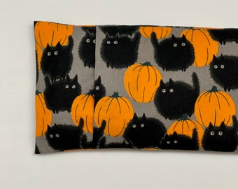 Pumpkin and Black Cats Microwave Heating Pad with Washable Cover. Rice & Flaxseed heating pack. Halloween Cotton Removable Cover.Choose Size