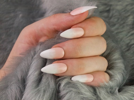 READY TO SHIP * Baby boomer nude ombre Press on Nails | Fake nails | Glue on nails | Custom shapes and sizes | Ombre | basic nails