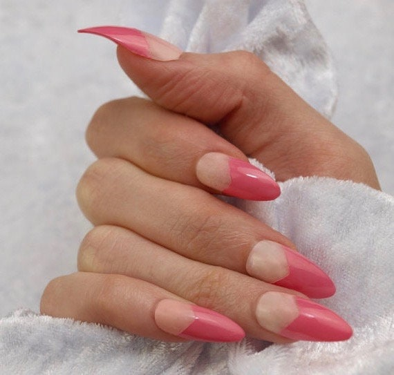 Classic Pin Up Press On Nail Retro Pink Tip Glue On Manicure Etsy