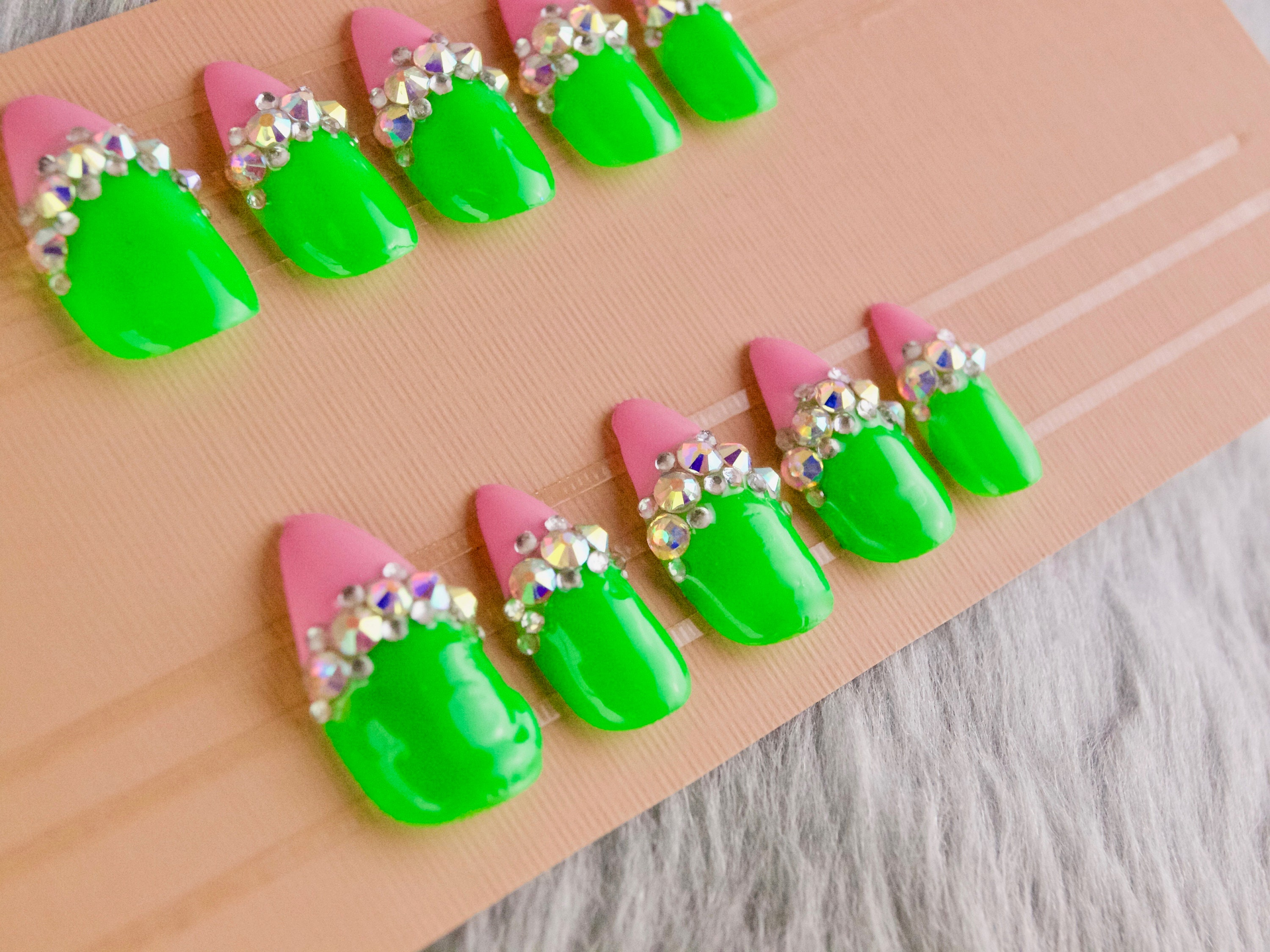 Lime Green and Pink Rhinestone Stiletto Press on Nails   Bling press ...