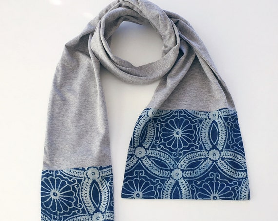 Grey Marle Block Print Cotton & Jersey Scarf