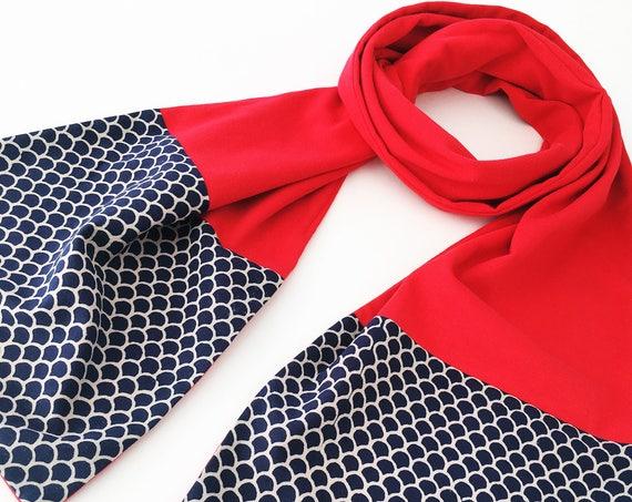 Indigo Block Print Cotton & Red Jersey Scarf