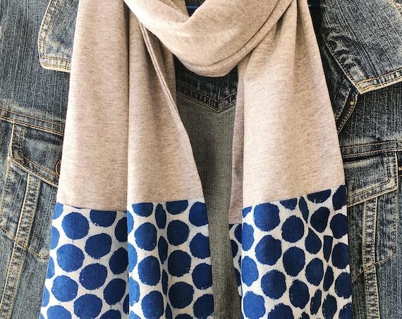 Grey Marle Jersey & Indigo Block Print Cotton Scarf