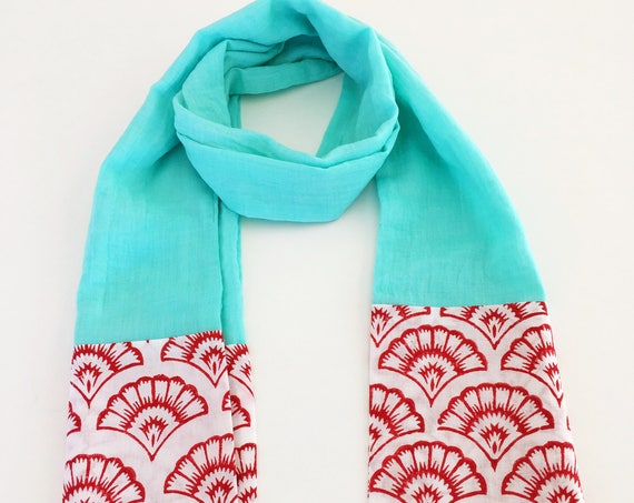 Turquoise and Red Block Print Cotton Scarf